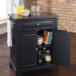 Crosley Furniture - Newport Solid Black Granite Top Portable Kitc - Newport Collection. 1 Adjustable shelf. 1 Drawer. 2 Beautiful raised panel doors. 2 Towel Bars. Solid Black Granite top. Solid hardwood and veneer construction. Hand rubbed multi-step finish. Brushed Nickel hardware and White finish. Assembly required. 1-Year manufacturer's warranty. 28.25 in. L x 18 in. W x 36 in. H (135.3 lbs.)