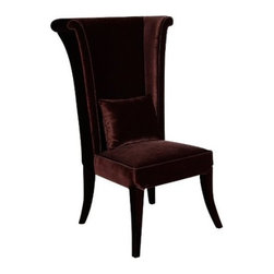 Mad Hatter Dining Chair, Brown - This magnificent wingback chair has been upholstered in velvet. It most definitely gives off the feeling of old vintage charm.