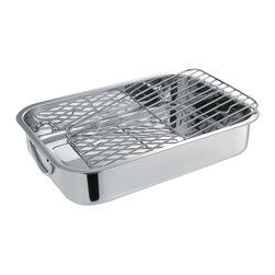 Cuisinox - 34 x 26 x 6cm Roasting Pan with Rack, Stainless - Also referred to as a lasagna pan, this 14 x 10 in.  rectangular roaster with grilling rack in a lustrous stainless steel mirror finish. The grilling rack helps prevent food from boiling in its' juices.