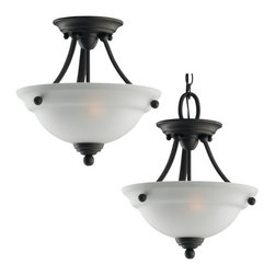 Seagull - Seagull Wheaton Bowl Pendant Light in Heirloom Bronze - Shown in picture: 77625-782 Two Light Ceiling Semi-Flush / Pendant in Heirloom Bronze finish with Satin Etched Glass