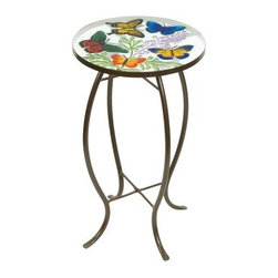 Evergreen Enterprises Butterflies Glass Top Side Table - The perfect little accent table in your garden or on your patio the Evergreen Enterprises Butterflies Glass Top Side Table makes it spring all year round. The metal base and art glass top are durable and it's suitable for indoors or out.