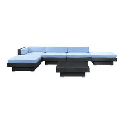 Laguna 6-Piece Outdoor Patio Sectional Set - Plumb the surface depths with the sweetly expressive Laguna corner set. Encompass moments of inspiration as you create ripple effects to be felt the world over. With soft all-weather light blue fabric cushions and espresso rattan base, yield surprising results and let spontaneity flow forth as you sit in lavish comfort.