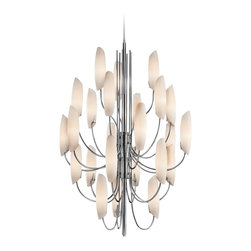 """Kichler - Contemporary Kichler Stella 36"""" Wide 24-Light Chrome Chandelier - Add a contemporary look to your home decor with this Kichler chandelier. The stunning design features a gleaming chrome finish studded with satin etched cased opal glass. This sleek design will brighten up entryways living spaces and dining areas. Chrome finish. Satin etched cased opal glass. Steel construction. Takes twenty-four maximum 40 watt or equivalent candelabra bulbs (not included). Includes 6 1/2 feet of extra lead wire. 53"""" high. 36"""" wide. Canopy is 5"""" wide. Hang weight 45 lbs.  Chrome finish.  Satin etched cased opal glass.  Steel construction.  Use this large chandelier in a foyer or dining room.  From the Kichler lighting collection.  Takes twenty-four maximum 40 watt or equivalent candelabra bulbs (not included).  Includes 6 1/2 feet of extra lead wire.  53"""" high.  36"""" wide.  Canopy is 5"""" wide.  Hang weight 45 lbs."""