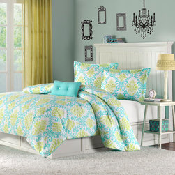 Mizone - Mizone Katelyn Duvet Cover Set - Katelyn is the perfect way to add color and fashion to your bedroom. This duvet cover set brings in a great combination of turquoise blue with an apple green color to create this fun damask pattern. The pattern is printed on super soft micro-fiber and reverses to a turquoise colored soft micro-fiber fabric. One decorative pillow is also included in the set. Duvet & Sham: 100% polyester peach skin printed fabric, 100% polyester brushed fabric reverse Pillow: poly cover and poly fill
