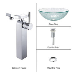 Kraus - Kraus C-GV-500-12mm-14300CH Broken Glass Vessel Sink and Unicus Faucet - Add a touch of elegance to your bathroom with a glass sink combo from Kraus