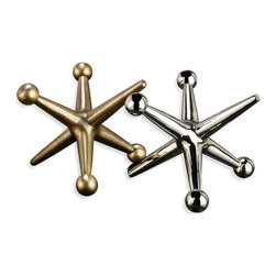 Kathy Kuo Home - Jayden Giant Jacks Brass & Silver Sculptures- Set of 2 - Who has time for childish games?  This stylish pair of oversized metal jacks certainly recall the days when simple pleasures came in the form of bouncing balls and playing tag.  Great for kids rooms as well as in the offices, bookshelves or bedrooms of grown ups, these two evoke an easy nostalgia.