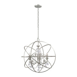 Crystorama - Crystorama 9219-OS-CL-MWP Solaris Chandelier - We've made some changes to the Solaris Collection. You've seen crystal chandeliers before. They're very glamorous and old Hollywood. The most dramatic influence is our use of crystal elements inside the perfect sphere. We have married the contemporary sphere with the cut crystal chandelier and together they make the most beautiful jewelry for a room.