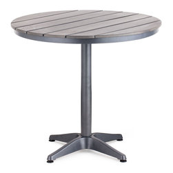 Zuo Modern - Zuo Modern Capital Round Dining Table in Gray - Round Dining Table in Gray belongs to Capital Collection by Zuo Modern The Capital Bar Table has a sturdy epoxy coated aluminum frame and a slatted faux wood top. Dining Table (1)