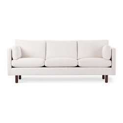 Bryght - Nova White Sofa - The Nova collection characterizes a Danish design that elegantly unifies modern minimalist lines with functionality. Upholstered to perfection in a classic basket weave fabric that brings forth elements of harmony and affinity to your space.