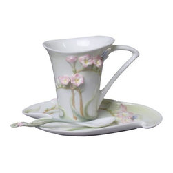 US - 6.75 Inch Glazed Porcelain Pink Freesia 3 piece Coffee Set with Spoon - This gorgeous 6.75 Inch Glazed Porcelain Pink Freesia 3 piece Coffee Set with Spoon has the finest details and highest quality you will find anywhere! 6.75 Inch Glazed Porcelain Pink Freesia 3 piece Coffee Set with Spoon is truly remarkable.