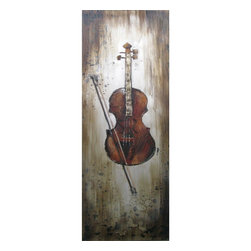 Yosemite Home Decor - Yosemite Home Decor FCF6495-2 Instrumental Elements IIHome Decor Revealed Artwor - Contemporary portrait of a violin painted in neutral tones of brown, gray and white.
