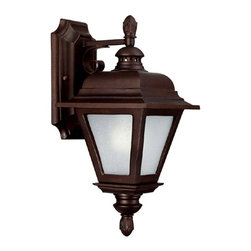 Capital Lighting - Capital Lighting Brookwood 13W Energy Efficient Traditional Outdoor Wall Sconce - The Capital Lighting Brookwood Traditional Outdoor Wall Sconce - CP-9961 offers a clean appearance with bold lines and detailed styling. The burnished bronze finish means this fixture can brave the elements and the frosted seeded glass makes this a welcome ornament on your porch, patio, or garage.
