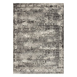 """Loloi Rugs - Loloi Rugs Viera Collection - Ash, 2'-5"""" x 7'-7"""" - Classically expressed design elements enjoy a graphic, modern twist in the Viera Collection. Power-loomed of 100-percent polypropylene, these tasteful contemporary and refined transitional designs reverberate with style. A deliberate high-low pile adds to the worn, vintage look and finish of each rug. Ultra sophisticated black/ivory and mocha/ivory color options add broad appeal to this timely yet timeless collection."""