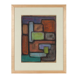 Lost Art Salon - 1960s Colorful Pastel Geometric Abstract Artwork - This 1960s geometric pastel on paper abstract is by Viennese-Southern Californian artist Dave Fox (1920-2011). Fox fled Vienna in 1939. He dedicated his life to perfecting his skills at drawing, painting and ceramics, with a special emphasis in printmaking inspired by the ever-changing landscapes of Los Angeles and the California mountains to the Pacific ocean. His works are in the permanent collections of the Long Beach Museum of Art and the Carnegie Museum of Art. Framed in a restored contemporary light maple wood frame using archival matting and etched non-glare glass.  More works by this artist are available at Lost Art Salon and online on their artist collection page