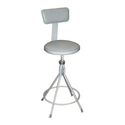 National Public Seating - National Public Seating 24-28 Inch Padded ADJ Height Premium Swivel Stool_ - National Public Seating's swivel stool with backrest rotates in both directions, so students can easily access nearby supplies without getting up from the table. Perfect for use in art rooms and science labs. Sturdy steel tubing stands up to daily wear and tear. The padded seat and backrest are covered with easy-to-clean gray vinyl. Adjust the height to suit nearly any task.