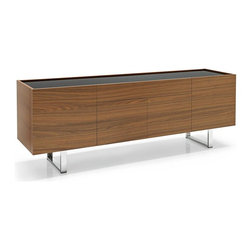 Calligaris - Horizon Wooden Sideboard Cabinet w 4 Doors (F - Finish: Frosted Black Glass & Wenge FinishPictured in Frosted Black Glass & Walnut Finish. Sideboard with 2 side doors in folding veneer. 2 central push-pull doors - no handles. One top central drawer with decelerating locking system. Rectangular chromed metal base - 2 in. x 3/4 in. sections. Includes one transparent tempered shelf for each side compartment. Top glass panel. Assembly required. Height from ground: 8.25 in.. 82.75 in. W x 19.75 in. D x 29.25 in. H