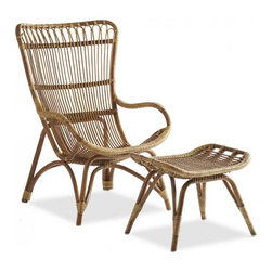 Settle-In Rattan Lounger and Ottoman - When you need an affordable accent chair, rattan can be the answer. I love the lounge-y, bohemian vibe of this one.