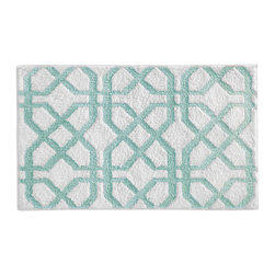 InterDesign - Mint Trellis Bath Rug - Featuring a striking design, this fashionable and functional rug absorbs water quickly and features a no-slip construction for added safety.   34'' W x 21'' H 100% microfiber polyester Machine wash Imported