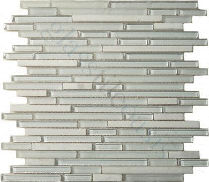 Modern Tile Super White Random Bricks Random Brick Series Glossy and Frosted Glass and Stone
