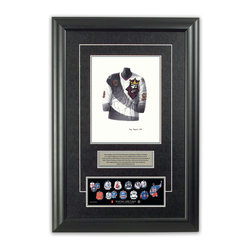 "Heritage Sports Art - Original art of the NHL 1995-96 Wayne Gretzky jersey - This beautifully framed piece features an original piece of watercolor artwork glass-framed in an attractive two inch wide black resin frame with a double mat. The outer dimensions of the framed piece are approximately 17"" wide x 24.5"" high, although the exact size will vary according to the size of the original piece of art. At the core of the framed piece is the actual piece of original artwork as painted by the artist on textured 100% rag, water-marked watercolor paper. In many cases the original artwork has handwritten notes in pencil from the artist. Simply put, this is beautiful, one-of-a-kind artwork. The outer mat is a rich textured black acid-free mat with a decorative inset white v-groove, while the inner mat is a complimentary colored acid-free mat reflecting one of the team's primary colors. The image of this framed piece shows the mat color that we use (Silver). Beneath the artwork is a silver plate with black text describing the original artwork. The text for this piece will read: This original, one-of-a-kind watercolor painting of Wayne Gretzky's 1995-96 Los Angeles Kings jersey is the original artwork that was used in the creation of this Wayne Gretzky jersey evolution print and tens of thousands of Wayne Gretzky products that have been sold across North America. This original piece of art was painted by artist Tino Paolini for Maple Leaf Productions Ltd. Beneath the silver plate is a 3"" x 9"" reproduction of a well known, best-selling print that celebrates Wayne Gretzky's hockey history. The print beautifully illustrates a chronological evolution of some of Wayne Gretzky's jerseys and shows you how the original art was used in the creation of this print. If you look closely, you will see that the print features the actual artwork being offered for sale. The piece is framed with an extremely high quality framing glass. We have used this glass style for many years with excellent results. We package every piece very carefully in a double layer of bubble wrap and a rigid double-wall cardboard package to avoid breakage at any point during the shipping process, but if damage does occur, we will gladly repair, replace or refund. Please note that all of our products come with a 90 day 100% satisfaction guarantee. Each framed piece also comes with a two page letter signed by Scott Sillcox describing the history behind the art. If there was an extra-special story about your piece of art, that story will be included in the letter. When you receive your framed piece, you should find the letter lightly attached to the front of the framed piece. If you have any questions, at any time, about the actual artwork or about any of the artist's handwritten notes on the artwork, I would love to tell you about them. After placing your order, please click the ""Contact Seller"" button to message me and I will tell you everything I can about your original piece of art. The artists and I spent well over ten years of our lives creating these pieces of original artwork, and in many cases there are stories I can tell you about your actual piece of artwork that might add an extra element of interest in your one-of-a-kind purchase."
