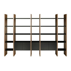 BDI - BDI | Semblance Storage Package 5405-JB - The Semblance Storage Package 5405-JA offers more than ample storage for books, media and decorative mementos. Featuring 2 double-width cabinets, 3 single-width cabinets, and single-width and double-width shelves connected by vertical panels, this shelving system can accommodate large collections. The cabinets can be positioned at any desired height between the panels and can be arranged together or spread apart. The single-width shelves can be placed next to each other, on the ends, or alternate them with the double-width shelves. Just one Semblance Storage Package 5405-JA provides several arrangements to meet a variety of display and storage needs.The Semblance Modular Storage System offers customizable storage solutions. By combining richly finished vertical wood panels with unique glass shelves, storage cabinets, and other components in a variety of flexible, pre-configured packages, there is an answer for virtually any application. The micro-etched glass shelves and cabinet doors are resistant to fingerprints and have a luxurious feel. Semblance integrates the desire for display and storage space with the demands of workspaces and technology to create a handsomely designed solution. Product Features:  Micro-etched, tempered glass cabinet doors with soft-close hinges Micro-etched, tempered glass shelves Machine threaded inserts in the vertical panels allow for easy adjustments Steel shelf supports Integrated levelers Richly grained natural hardwood veneered vertical panels Cabinets contains 1 adjustable shelf 2- Double-width cabinets with 2 adjustable shelves 6 - Adjustable double-width shelves 3 - Single-width cabinets 9 - Adjustable single-width shelves Single-width cabinet doors are reversible 1 - End panel set 4 - Divider panel