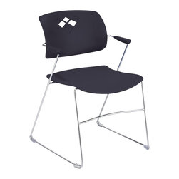 Safco - Safco Veer Stack Chair in Black (Set of 4) - Safco - Stacking Chairs - 4286BL - We're bringing flexi back! You would never expect this much comfort and flexibility from a stack chair. Its fluid movements result in superior comfort and adaptability across your workspace. The Veer Stack Chair blends style with a back that arches with the bodies natural curves to give relaxing support whether it's an extra seat for a meeting or a roomful for a presentation. With so much flexibility Veer Stack has got your back. The chair features non-marring floor glides and can stack up to 12 high on the floor and 28 high on a cart. Available in three colors: Grass (GS) Blue (BU) and Black (BL). Packed 4 per carton. Limited Lifetime Warranty.