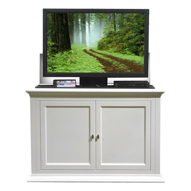 """Touchstone Home Products - Seaford White TV Lift Cabinet for Flat Screen up to 46"""" - The Seaford combines traditional solid lines with a fresh white finish to create a gorgeous cabinet with a contemporary twist. Indulge in the beauty and fine craftsmanship of this solid birch and birch veneer cabinet that features a built-in component shelf that raises and lowers with your TV, allowing quick and easy access to your cable box, Blu-ray or DVD player and gaming systems.  the Seaford adds a refreshing clean look with a modern twist to any bedroom, living room or den. It includes the Whisper Lift II TV lift mechanism and fits plasma or LCD flat screen TV's as large as 48"""" wide and 28"""" tall."""