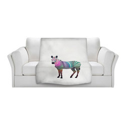 DiaNoche Designs - Throw Blanket Fleece - Rainbow Zebra White - Original Artwork printed to an ultra soft fleece Blanket for a unique look and feel of your living room couch or bedroom space.  DiaNoche Designs uses images from artists all over the world to create Illuminated art, Canvas Art, Sheets, Pillows, Duvets, Blankets and many other items that you can print to.  Every purchase supports an artist!