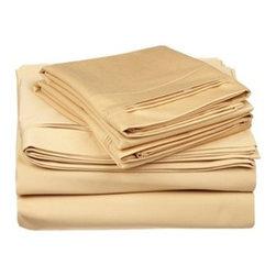 650 Thread Count Egyptian Cotton Cal. King Gold Solid Sheet Set - 650 Thread Count Egyptian Cotton OVERSIZED California King