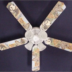 Ceiling Fan Designers Baby Safari Elephant Lion Zebra Indoor Ceiling Fan - Just right for the nursery, your lil nature baby is going to love the Ceiling Fan Designers Baby Safari Elephant Lion Zebra Indoor Ceiling Fan. This fun ceiling fan includes a light kit and is filled with baby animals to light up and cool down their bedroom. It comes in your choice of size: 42-inch with 4 blades or 52-inch with 5. The blades are reversible so you get the colorful baby safari animal design on one side and white on the other. A perfect way for the nursery to grow into a big kid room! It has a powerful yet quiet 120-volt, 3-speed motor with easy switch for year-round comfort. The 42-inch fan includes a schoolhouse-style white glass shade and requires one 60-watt candelabra bulb (not included). The 52-inch fan has three alabaster glass shades and requires three 60-watt candelabra bulbs (included). Your ceiling fan includes a 15- to 30-year manufacturer's warranty (based on size). It is not an officially licensed product. Licensed products were used as decorations.