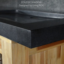 """TROUGH SINK DOUBLE TROUGH BLACK GRANITE BATHROOM VESSEL SINK FOLE'GE SHADOW 63""""x - Double trough large bathroom natural stone sink FOLEGE SHADOW - 63"""" x 19"""" x 2"""" - genuine interior decoration trendy pure black granite. The """"Exceptional"""" cut in the block without any comparison with plastic and other chemical resin market often unaffordable. Simply our living'ROC style."""