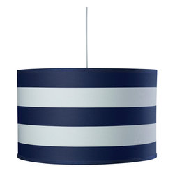 Oilo - Stripe Large Cylinder, Cobalt Blue - The crisp wide stripes on this classic drum shade give it a youthful and preppy look. It's a refreshing take on a timeless design and would certainly brighten up any room. A white acrylic sheet ensures a soft glow is diffused over your space, and a 55-inch cord means you are in complete control over its height.