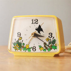 Vintage Alarm Clock, Yellow Butterflies by Dipper Vintage - A sweet butterfly and folksy flowers make this vintage timekeeper a kitschy treasure.