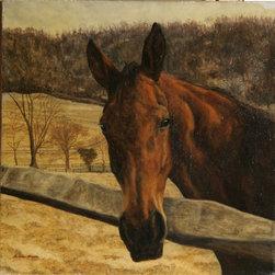 Helene Alison, Battlesea, the T-More Mare, Oil Painting - Artist:  Helene Alison, American