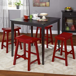 Simple Living - Simple Living 5pc Belfast Saddle Counter Height Set,Black and Red - Enjoy a relaxed dining experience with this black and red 5-piece set. This set includes a black counter height table and four (4) counter stools in red finish. This design will transition well into any style of decor.