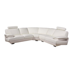American Eagle Furniture - 8380 White Bonded Leather Sectional Sofa - The 8380 sectional sofa has a simple modern design that will be a great addition for any living room setting. This sofa comes upholstered in a stunning white bonded leather on the front where your body touches. Carefully chosen match material is used on the back and sides where contact is minimal. High density foam is placed within the sectional for added comfort. The coffee table shown is NOT included.