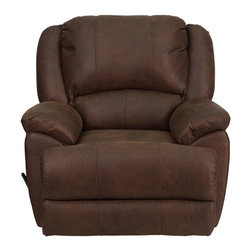 Flash Furniture - OverStuffed Bomber Jacket Microfiber Lever Rocker Recliner - This motion recliner will provide you comfort with the added bonus of the rocking feature. The rocker recliner can not only be used in the living room, but makes for a great nursery chair. The gentle back and forth rocking is soothing to both babies and adults. This recliner features thick cushion padding to relax while watching a movie, reading a good book or doing nothing! The durable microfiber upholstery is not only soft and adds a clean appearance, but is easy to clean.