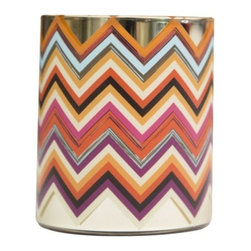 "Missoni Home - Monterosa Candle by Missoni Home - The snowy Italian Monterosas (or ""Pink Mountains"") inspired the warm, woody scents of the Missoni Home Monterosa Candle. Developed by Los Angeles aromatics company APOTHIA, the heart of the palette is smoky incense and saffron floating through a grove of balsam and cypress. They sit on a woody base together with smoked leather and exotic amber. Missoni Home, the beloved fashion brand's home collection, features a range of richly patterned rugs, throws, pillows, linens and accessories. Strong colors, bold graphics and whimsical layering are all hallmarks of the creative vision behind Missoni Home."