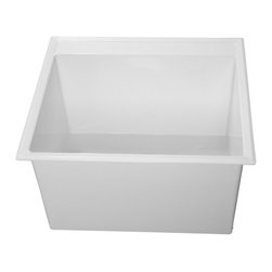 "Fiat - Fiat DL1100 Molded Stone Laundry Tub - The Fiat DL1100 Molded Stone Laundry Tub is part of the DL1 Series. This molded stone laundry tub features a counter-top drop-in installation style, a self-rimming flange, (4) corner looking bars, screws for the molded mounting legs, and it comes with 4"" or 8"" knockout centerset faucet holes. This model comes in a clean, White finish. This model measures 24-1/2"" by 22"" by 13-1/2"" (O.D.)."