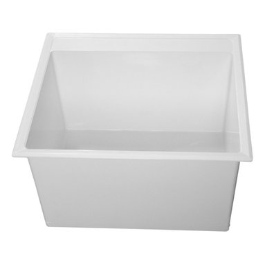 """Fiat - Fiat DL1100 Molded Stone Laundry Tub - The Fiat DL1100 Molded Stone Laundry Tub is part of the DL1 Series. This molded stone laundry tub features a counter-top drop-in installation style, a self-rimming flange, (4) corner looking bars, screws for the molded mounting legs, and it comes with 4"""" or 8"""" knockout centerset faucet holes. This model comes in a clean, White finish. This model measures 24-1/2"""" by 22"""" by 13-1/2"""" (O.D.)."""