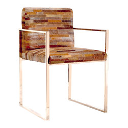 """Brownstone - Brownstone Verona Dining Chair Patchwork Leather - Sleek style meets rich texture on the bold Brownstone Verona dining chair. Rustic in patchwork leather, the seat's colorful cushion tops a clean-lined frame in unexpected panache. 21.6""""W x 21.6""""D x 32""""H; Stainless steel"""