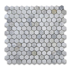 "Stone Center Corp - Calacatta Gold Marble Hexagon Mosaic Tile 1 inch Tumbled - Calacatta gold marble 1"" (from point to point) hexagon pieces mounted on 12"" x 12"" mesh tile sheet"