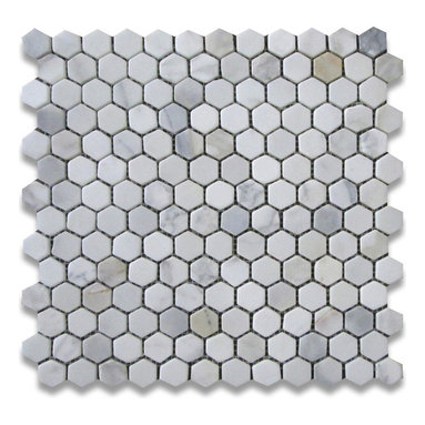 """Stone Center Corp - Calacatta Gold Marble Hexagon Mosaic Tile 1 inch Tumbled - Calacatta gold marble 1"""" (from point to point) hexagon pieces mounted on 12"""" x 12"""" mesh tile sheet"""
