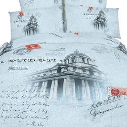 Dolce MMela - London  Quit/Duvet Cover Bedding Sheets Set Novelty Design by Dolce Mela, Queen - Decorate your bedroom with the souvenir print of London surrounded with memorabilia letters, and printed dazzlingly on our soft combed cotton fabric, to create a sophisticated retro bedroom effect.