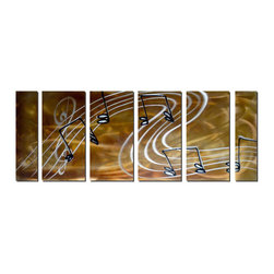 Pure Art - Melodic Swirl Music Note Art Set of 6 - A seemingly simple musical wall art that actually has many layers of interest, this piece combines contrast, movement and energy. It features a staff and musical notes in a swirling banner that flutters across the metal art against a backdrop of amber and gold, filled with highlights and lowlights. The treble clef is upside down, leaving the melody open to improvisation.Made with top grade aluminum material and handcrafted with the use of special colors, it is a very appealing piece that sticks out with its genuine glow. Easy to hang and clean.