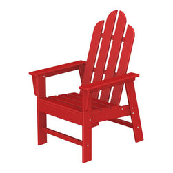 Polywood POLYWOOD® Long Island Chair in Red - Relax and enjoy Bring the easy comfort of a day at the beach to your outdoor living area with the stylish and sustainable Long Island Chair inspired by the classic Northeast Adirondack with a twist of modern design. You don't need a house in the Hamptons to create your own breezy get away with these classically styled pieces constructed from HDPE material – an incredibly durable material made from post-consumer bottle waste, such as milk and detergent bottles. Solidly constructed with stainless steel hardware, these pieces will stand the test of time and can withstand the elements with very little maintenance.  The Long Island Chair will not absorb moisture and requires no waterproofing, painting or staining to maintain their bright color for years. The colors are blended into the material all the way through, and are UV-resistant. Minimal assembly is required.   Dimensions: 26.5W x 29D x 42.5H   Care: Wash with mild soap and water. They can be power washed at pressures below 1,500 PSI.   Please allow 2-3 weeks to ship.