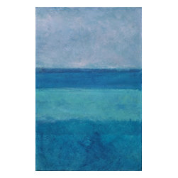 Blue On Blue 3, Original, Painting - Variety of blues, tahiti waters
