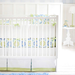 New Arrivals - New Arrivals Crib Bedding Pedal Pusher Blue - Reflecting the whimsy and joy of life, New Arrivals delivers fun and function to a child's room. The Pedal Pusher crib bedding set combines sweet florals with modern periwinkle blue, teal and mint green colorways. This modern sheet, skirt, receiving blanket and bumper collection offers sets of two, three or four coordinating pieces. Optional changing pad cover, curtain panels, boudoir pillow and bumper monogramming are available. Handmade in the USA.