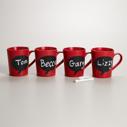 Chalk Talk Mugs - I don't think coffee gets more fun than this! Whether you purchase one as a gift or for yourself, these red mugs with chalkboard labels are sure to make a fun, sweet, silly — well, any kind of statement in your house.