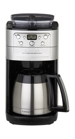 Cuisinart® Grind and Brew Thermal 12 Cup Coffee Maker - Grind and brew a stay-fresh pot right into a 12-cup thermal carafe. Cuisinart's state-of-the-art brushed stainless coffee maker does it all: just fill the 8-ounce hopper with whole beans, and the built-in burr grinder will grind them to perfection prior to brewing. Grind control and brew settings let you program from 2–12 cups, fine-tuned the way you like it—mild, medium or strong. Easy-to-use control panel features 24-hour programming, quick-pause function to sneak a cup during brewing, and a special 2- to 4-cup setting. Charcoal water filter keeps out calcium and chlorine; gold-tone filter locks in flavor. Grind feature may be deactivated to brew pre-ground coffee.